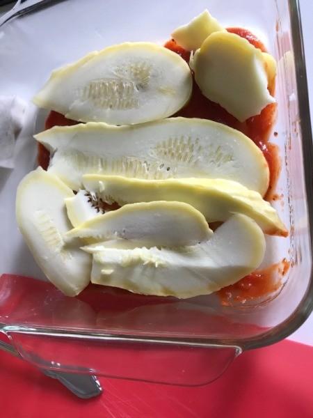 Summer Squash on pasta sauce