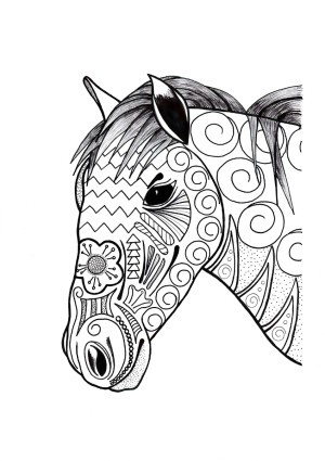 Ornamental Horse Adult Coloring Page - horse's head and neck