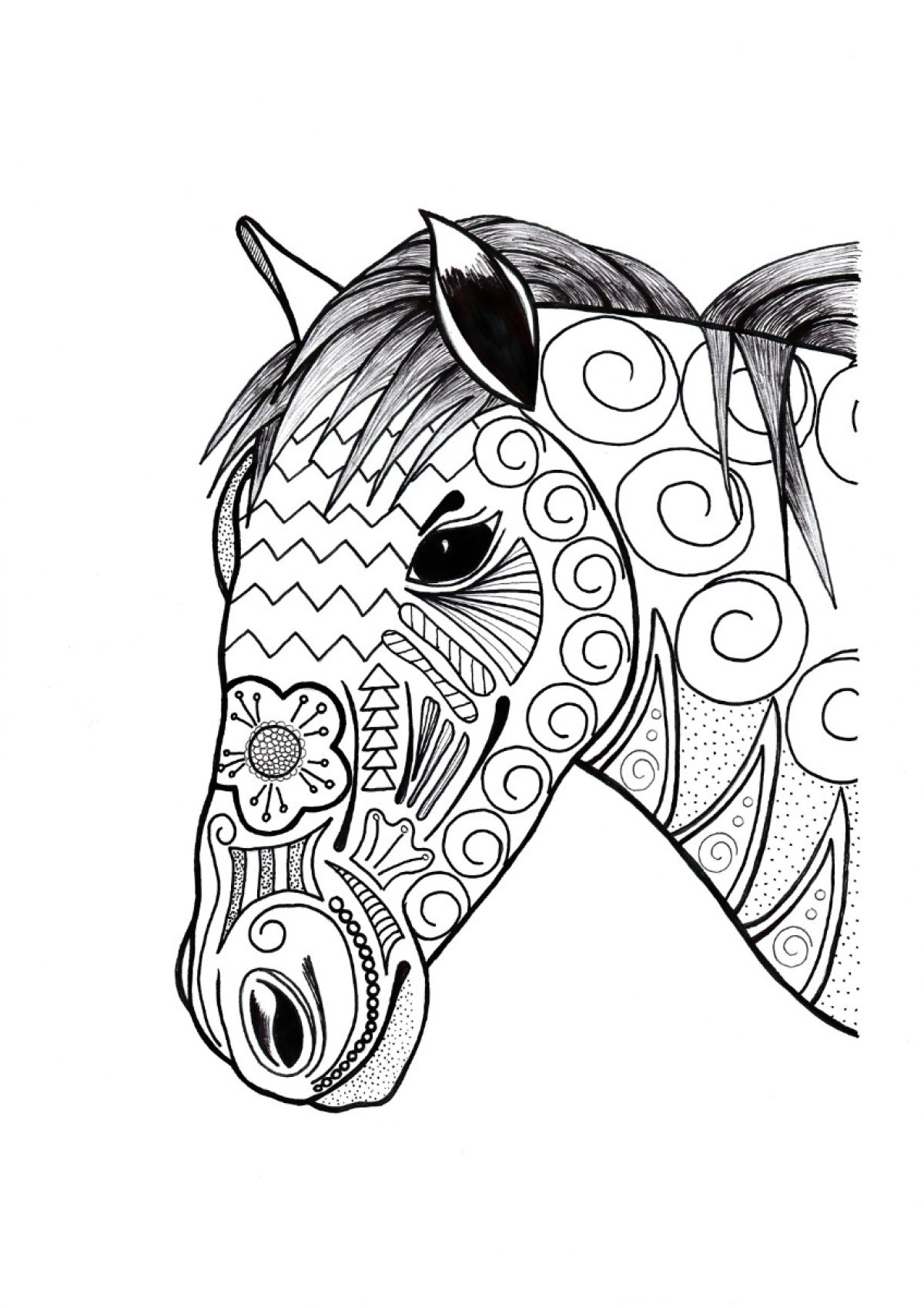 Ornamental Horse Adult Coloring Page | ThriftyFun