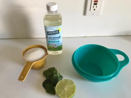Mint Lime Sugar Scrub - supplies