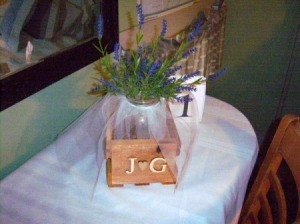 Natural Centerpiece for Wedding or Parties - decoration on a cloth covered table