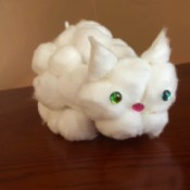Cotton Ball Kitty - finished cotton ball kitty