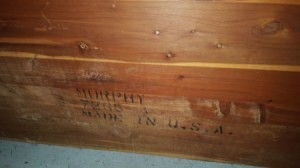 Value of a Murphy Cedar Chest - stamp on back of chest