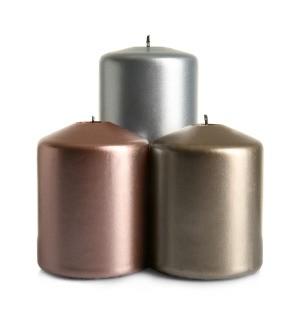 3 metallic pillar candles.