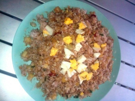 Cheesy Fried Rice on plate