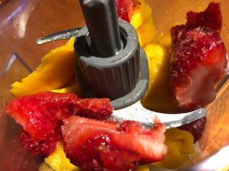 Strawberry and Mango in food processor