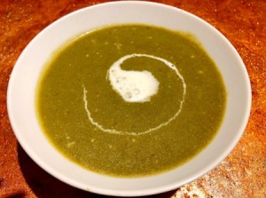 Chilled Spinach Soup in bowl