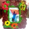 Crayon Frame - crayon frame decorated with flowers and a butterfly design