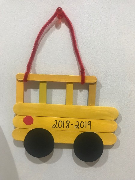 Hanging School Bus Picture Frame - finished bus photo frame