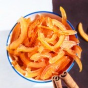 Candied grapefruit peels in a bowl.