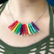 Mini Clothespin Rainbow Necklace - closeup of woman wearing the necklace