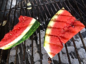 Watermelon flipped on grill