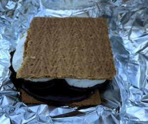 Foil unwrapped cooked S'more
