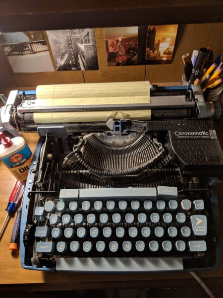 Keys Sticking on Coronet Super 12 Typewriter - electric typewriter with the top case cover removed