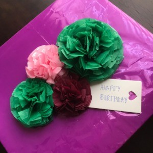 Tissue Paper Flower Bow - gift with bows and tag