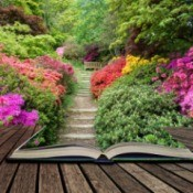 Beautiful vibrant landscape image of footpath border by Azalea flowers coming out of pages in open book.