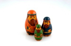 3 Nesting dolls with beards.