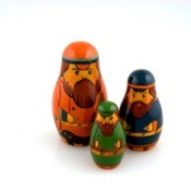 3 Nesting dolls with beards.