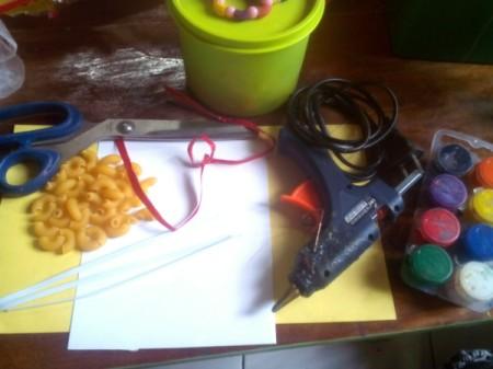 Macaroni Greeting Card - supplies