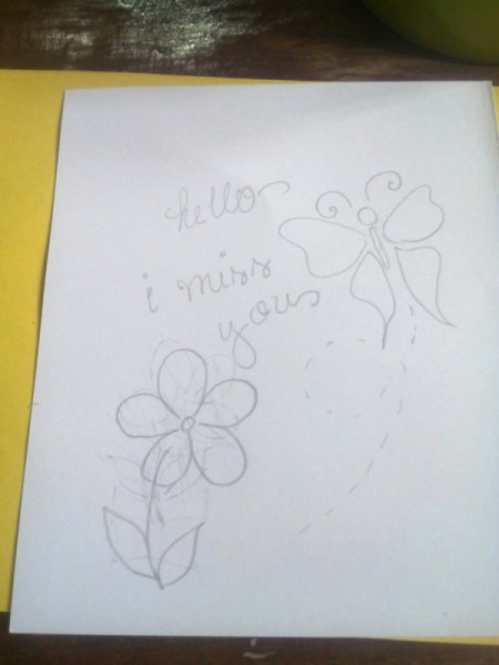 Macaroni Greeting Card - write a message and draw the design patterns on the paper
