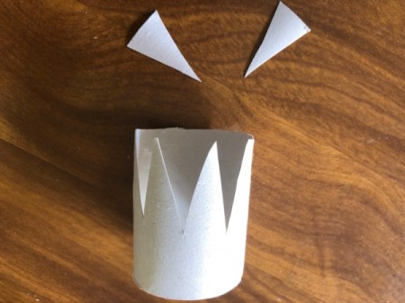 Cardboard Tube Crowns - cut triangles out of the tube tops, keep some of the triangles