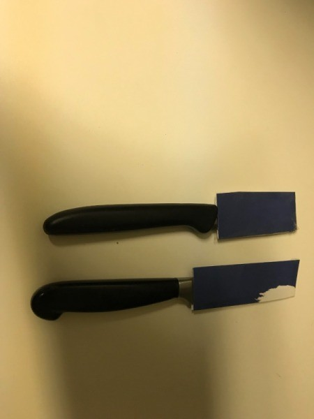 Homemade knife sheaths made from cardboard.