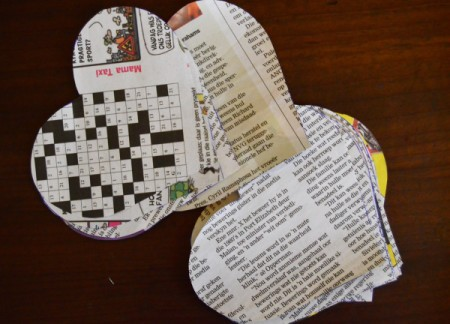 Bunch of Newspaper Roses - cut heart shapes from newspaper for rose petals