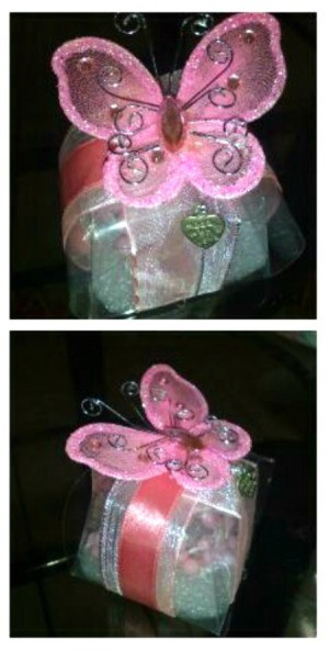 DIY Baby Girl Christening Souvenir - two views of the butterfly topper