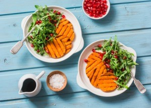 Grilled Sweet Potato Salad on two plates.