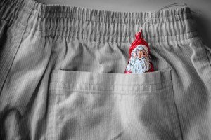 Chocolate santa in a pocket.