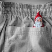 Chocolate santa in a pocket.