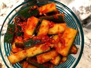 Cucumber Kimchi in bowl