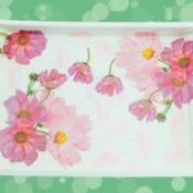 Decoupaged tray with flowers.