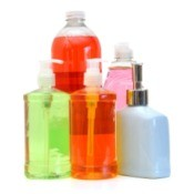 Colorful bottles of soaps.