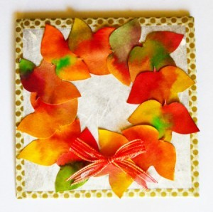 Fall Wreath Birthday Card - finished card with the added ribbon bow