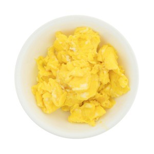 Bowl of plain scrambled eggs.