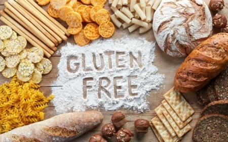 Gluten free written in flour.