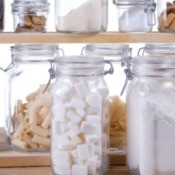 Glass Jars filled with pantry items.