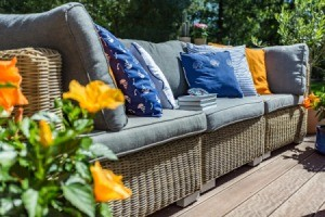 Garden sofa with pillows.