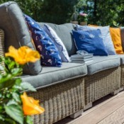 Garden sofa with pillows.