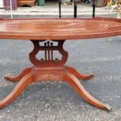 Value of a Mersman 7180 Coffee Table - oval lyre coffer table