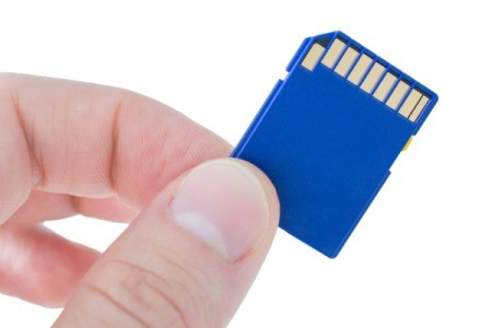 Hand holding a SD memory card