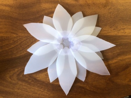 Plastic Milk Jug Flower - stagger and glue the medium petals in place