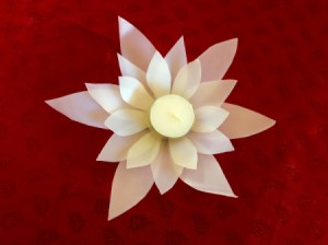 Plastic Milk Jug Flower - finished votive candle flower holder
