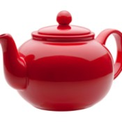 A bright red teapot.