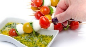 Fresh Tomatoes on a skewer with Dipping Oil