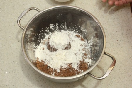 Ingredients for butterscotch pudding in a pan.