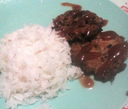 Tuna Cheese Patties on plate with rice