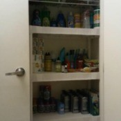 A medicine cabinet of personal care items.