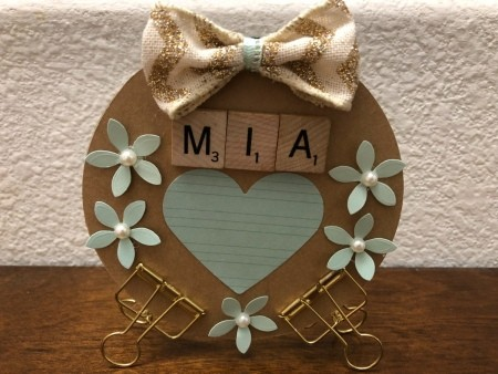 Standing CD Picture Frame - frame with blue paper heart in photo space